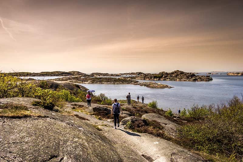 Gruppe wandert in Schweden am Meer