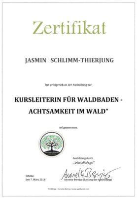 Zertifikat Waldbaden Jasmin Schlimm-Thierjung